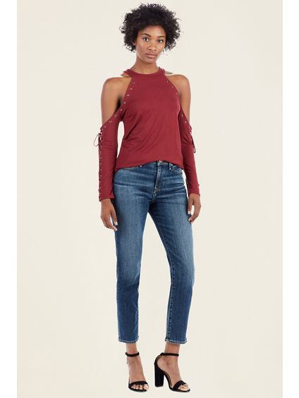 COLD SHOULDER EYELET WOMENS TOP