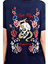 WOMENS EMBROIDERED SNAKE AND SKULL FLORAL TEE