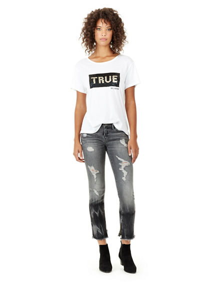 SEQUIN ELONGATED BF WOMENS TEE
