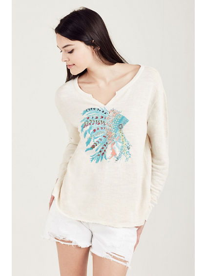 EMBROIDERED WOMENS PULLOVER