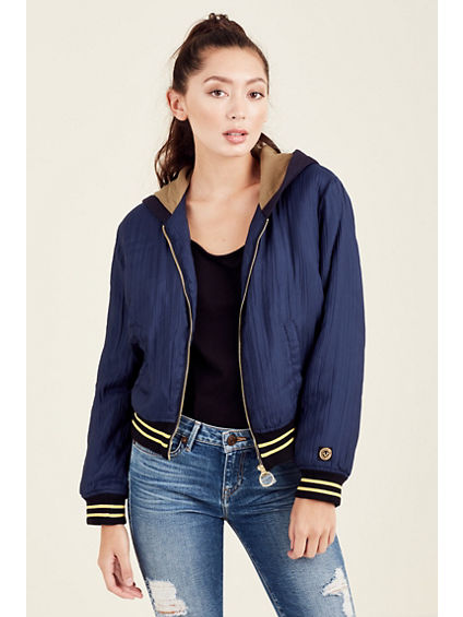 PATCHED BOMBER WOMENS HOODED JACKET