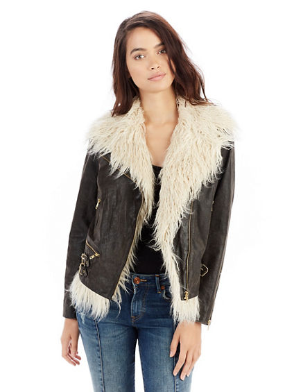 FAUX FUR WOMENS MOTO JACKET