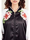 WOMENS EMBROIDERED FLORAL SATEEN BOMBER JACKET