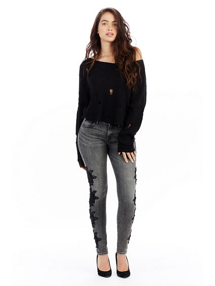 CROP DISTRESS WOMENS SWEATER