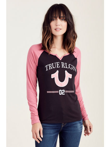 TRUE DOUBLE STRIPE HENLEY WOMENS TOP
