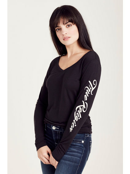 TRUE BADGES L/S  WOMENS TEE