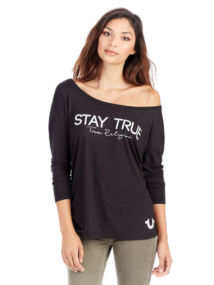 STAY TRUE OFF SHOULDER CRYSTAL WOMENS TEE