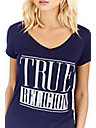 CRYSTAL LOGO BLOCK ROUNDED V NECK WOMENS TEE