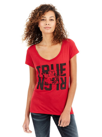 CRYSTAL BUDDHA  ROUNDED V NECK WOMENS TEE