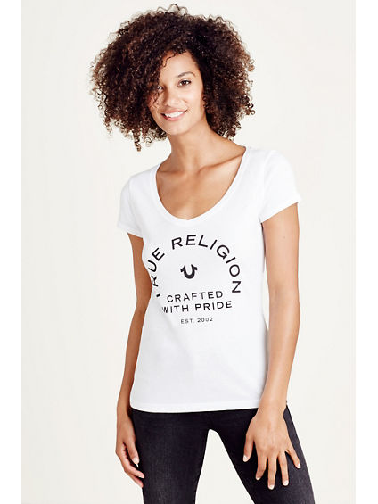 CRAFTED WITH PRIDE ROUNDED V WOMENS TEE