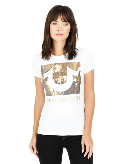 HORSESHOE SQUARE SEQUIN CREW NECK WOMENS TEE