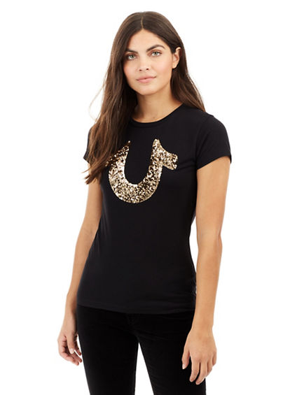 SEQUIN BIG HORSESHOE CREW NECK WOMENS TEE