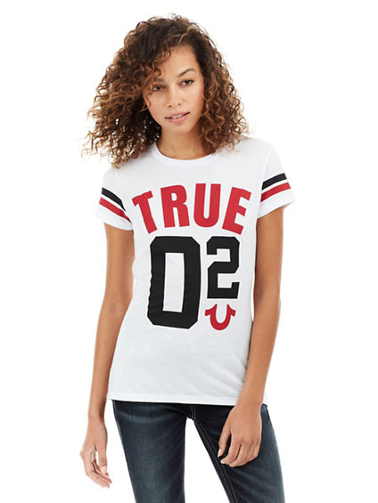 SEQUIN TRUE CREW NECK WOMENS TEE