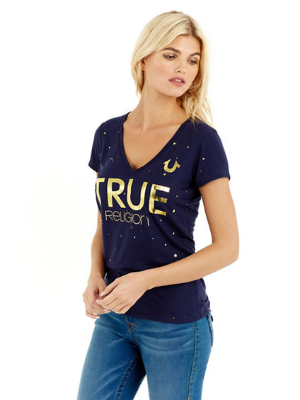 METALLIC TRUE SPLATTER DEEP V WOMENS TEE