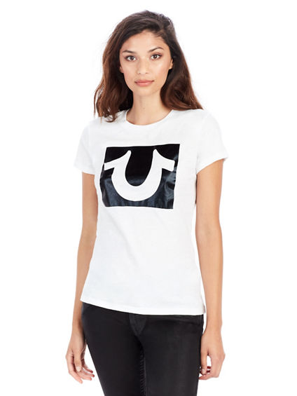 SHINY SHOE FOIL CREW NECK WOMENS TEE