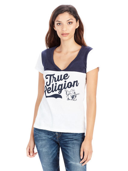BUDDHA FOOTBALL V NECK WOMENS TEE