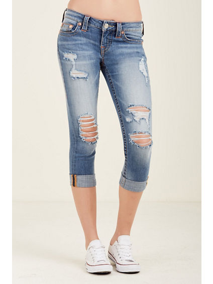 ROLLED CAPRI DESTROYED WOMENS JEAN
