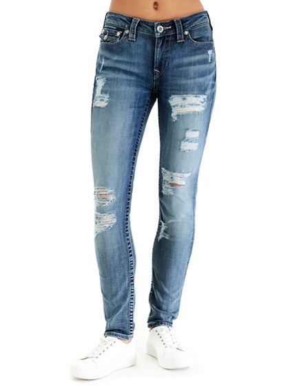 WOMEN'S CURVY SKINNY FIT DISTRESSED JEAN
