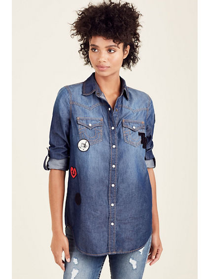 PATCH GEORGIA DENIM WOMENS SHIRT
