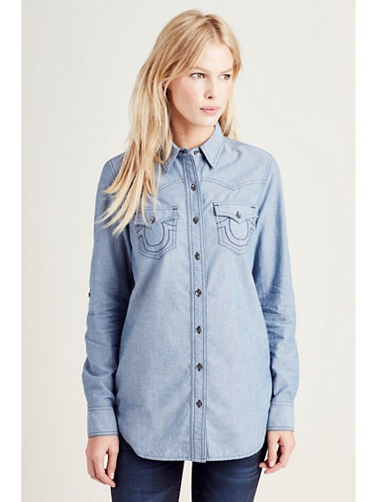 CHAMBRAY  WESTERN WOMENS SHIRT