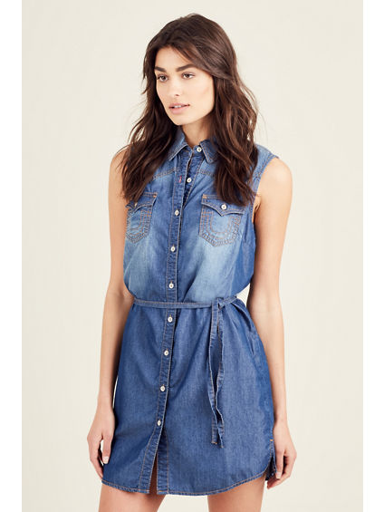 HEATHER DENIM WOMENS SHIRT DRESS