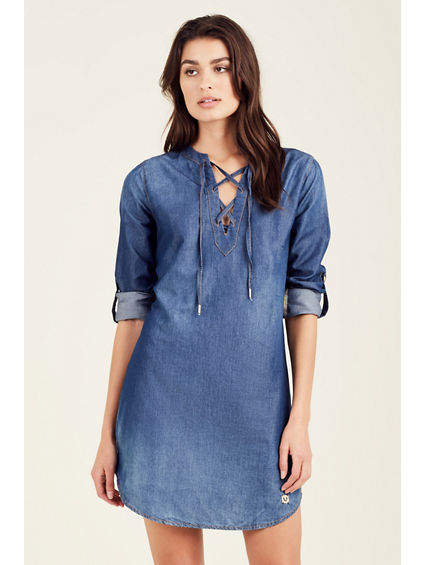 LACE UP WOMEN SHIRT DRESS