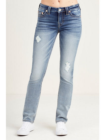 SLIM STRAIGHT DESTRUCT WOMENS JEAN