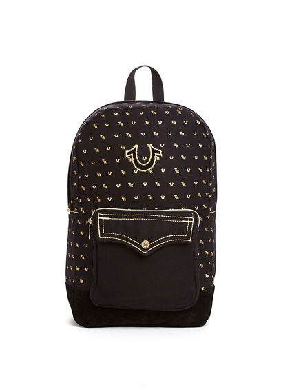 GOLD MONOGRAM MENS BACKPACK