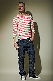 P.O.V.® Berlin Crew Neck Space Dyed Stripe Jersey & VIP Crossfire Jean