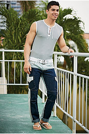ANDRES VELASCO® STAPLE LACE UP SLEEVELESS TEE & P.O.V.® Nikolas Jean Canvas Jeans