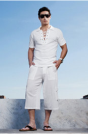 Torino Lace-Up Polo & Cargo Capri Pant