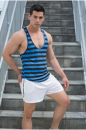 YMLA® Stripe Y-Back Tank & YMLA® Running Short