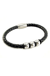 Amigaz® Bead Leather Wrap Steel Bracelet