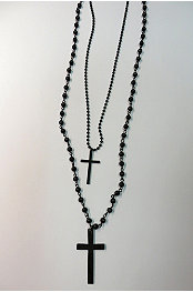 Double Cross Rosary Beads Necklace