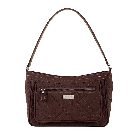 Pocket Shoulder Bag in Espresso Microfiber