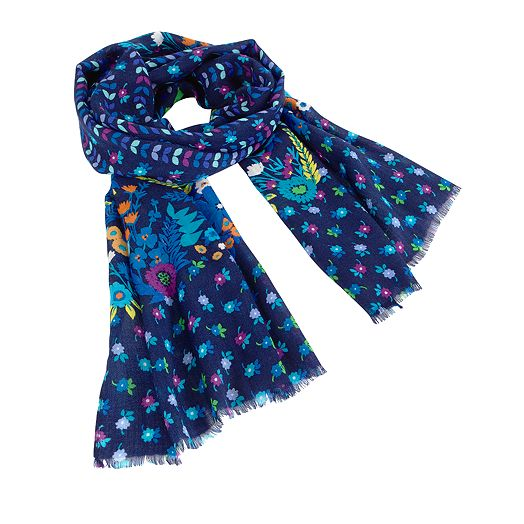 Wool Scarf in Midnight Blues