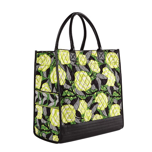 Boxy Tote in La Neon Rose with Black Trim