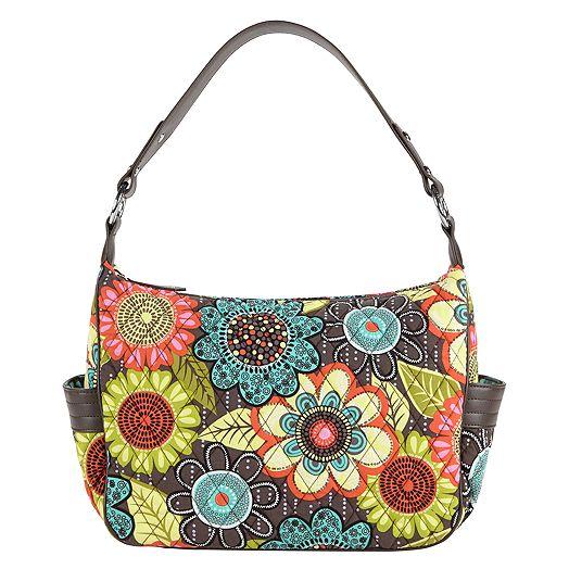 City Shoulder Bag in Flower Shower with Brown Trim