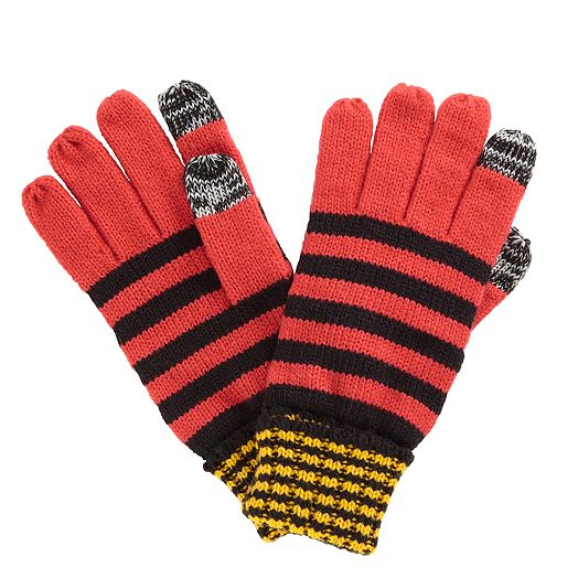 Striped Knit Glove in Bittersweet