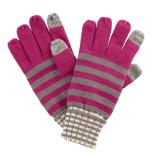 Striped Knit Glove in Canterberry Magenta