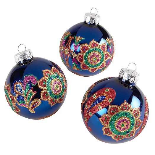 Holiday Ornament Set in Venetian Paisley