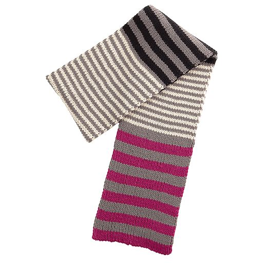 Striped Knit Scarf in Canterberry Magenta