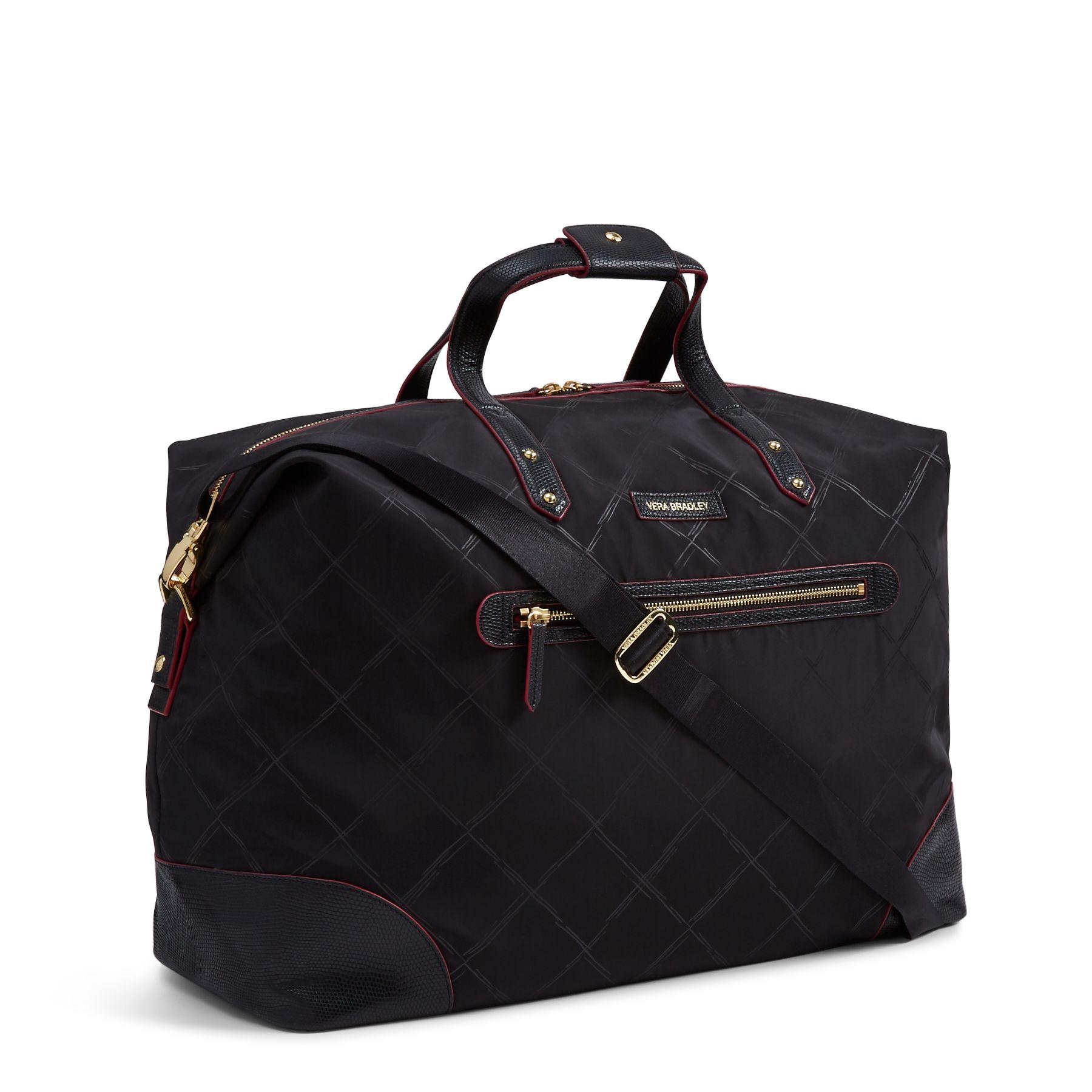 Vera Bradley Preppy Polyester Corner Travel Duffel Bag (Black)