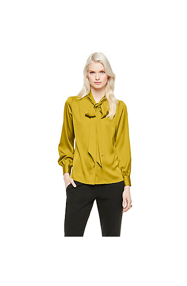 VINCE CAMUTO SATIN BOW NECK BLOUSE