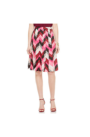 VINCE CAMUTO PLEATED CHEVRON SKIRT