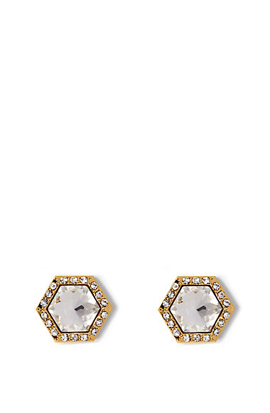 VINCE CAMUTO GOLD CRYSTAL HEXAGON STUDS