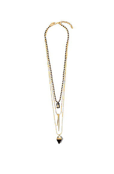VINCE CAMUTO BLACK TRIPLE LAYER SPIKE NECKLACE