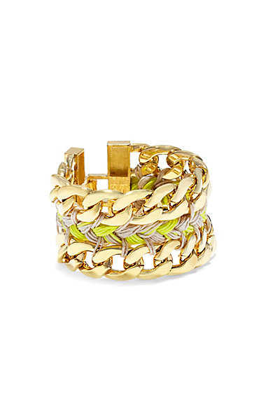 VINCE CAMUTO YELLOW BRAID & CHAIN BRACELET