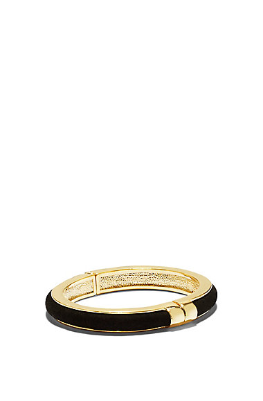 VINCE CAMUTO BLACK TUBE GOLD HINGE BANGLE
