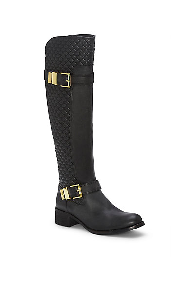 Vince Camuto Faris- Black Quilted Tall Riding Boot